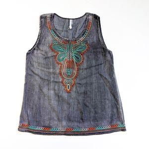 Mür Mür Embroidered Cotton Blend Boho Tunic